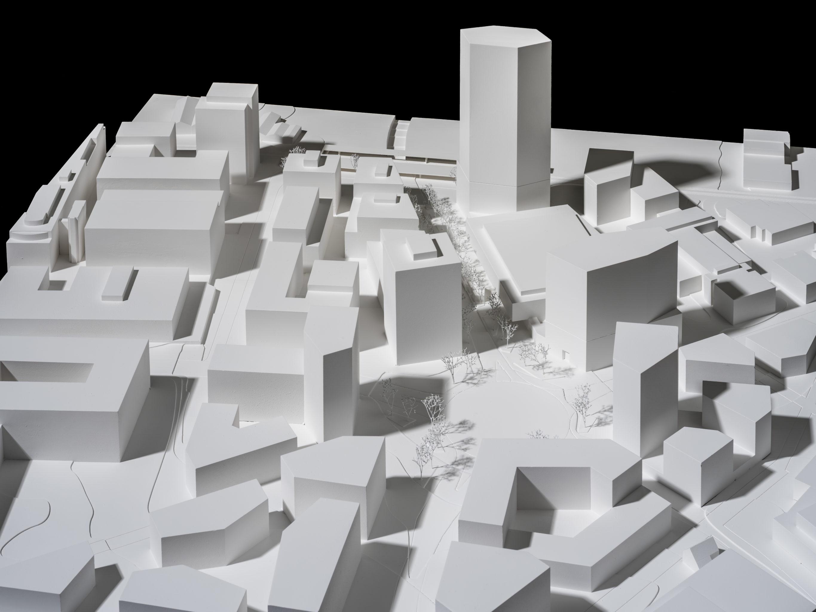 Modell der Pilatus Arena Kriens des Teams giuliani.hönger dipl. architekten
