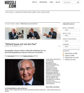 Websiteauszug von Peter Hossli über Guido A. Zäch